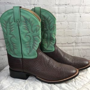 Tony Lama Brown & mint green leather western boots